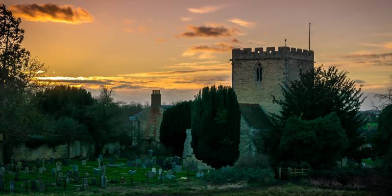 Barton Seagrave Church at dusk